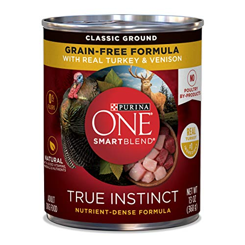 Purina ONE Grain Free, Natural Pate Wet Dog Food, SmartBlend True Instinct With Real Turkey & Venison - (12) 13 oz. Cans (Purina One Grain Free Dog Food)