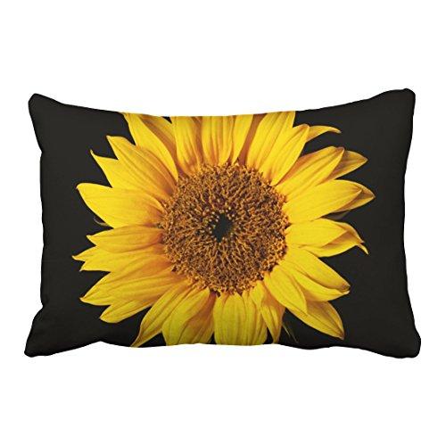 Emvency Throw Pillow Covers Sunflower Yellow On Black Sun Flowers Decor Pillowcases 20 x 30 Inch Queen Size Rectangle Pillow Cover Cushion Home Decorative Pillowcase Hidden Zipper (Pillow Sunflower Cases)