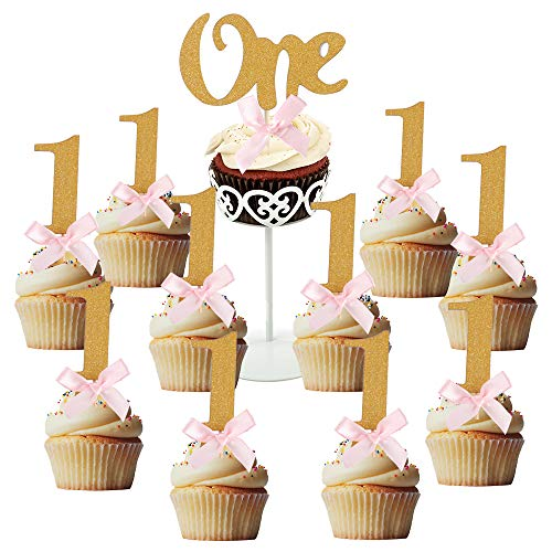 10PCS Glitter Gold 1 Cupcake Topper Pink Bow 1st Birthday Party Anniversary Decoration (Gold 10Packs)