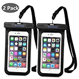"NewSwell Universal Waterproof Case,2 Pack PVC Waterproof Pouch IPX8 Waterproof Cellphone Dry Bag for iPhone 7,7Plus,6s,6 Plus, SE,5s, Galaxy S8,S7,Note 5 ,LG,HTC,Sony Nokia up to 6"" - Black"