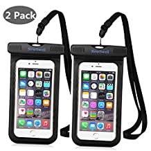 """NewSwell Universal Waterproof Case,2 Pack PVC Waterproof Pouch IPX8 Waterproof Cellphone Dry Bag for iPhone 7,7Plus,6s,6 Plus, SE,5s, Galaxy S8,S7,Note 5 ,LG,HTC,Sony Nokia up to 6"""" - Black"""