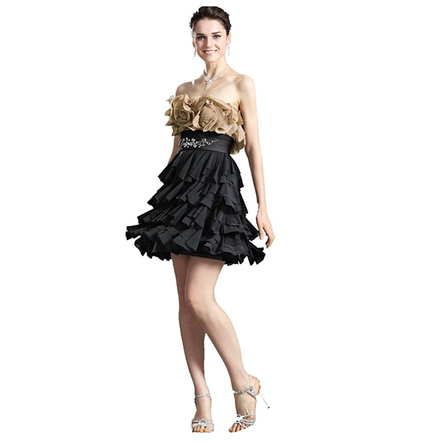 Jspoir Melodiz Women's Floral Detailed Strapless Bodice with Ruffle Tiered Cocktail Dress