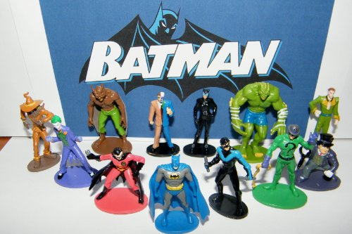 (Batman Superhero and Villains Mini Toy Figure Set of 12 with Catwoman, Joker, Robin, Nightwing)