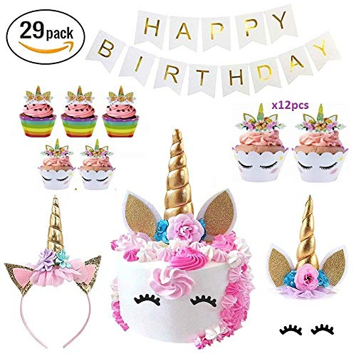 Makadami Unicorn Party Supplies - Unicorn Cake Toppers - Unicorn Headband Horn - Unicorn Birthday Party Items - Unicorn Cake Decorations - 3d Unicorn CupCake Topper - Diy Unicorn Cake Decorating Kit