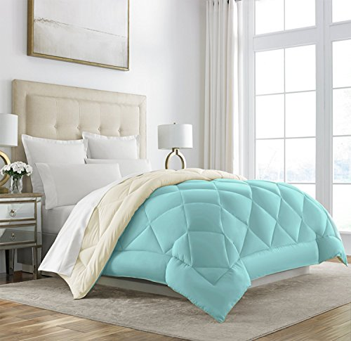 Sleep Restoration Goose Down Alternative Comforter - Reversible - All Season Hotel Quality Luxury Hypoallergenic Comforter - King/Cal King - Aqua/Ivory