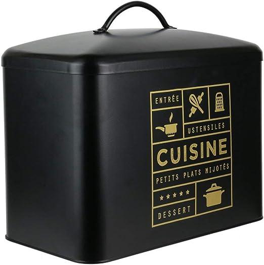 LA BOITE A CMBT6667 Caja DE ALMACENAJE Cocina, Metal, Noir-doré, 34 x 19,60 x 31,50 cm: Amazon.es: Hogar