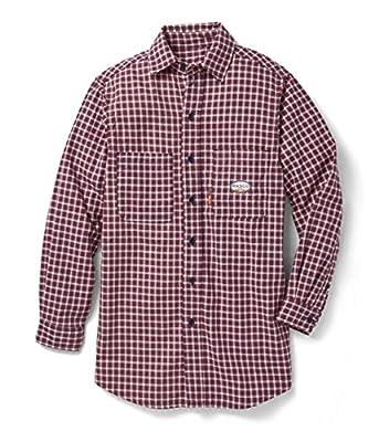 Rasco PLR756 Men's FR 7.5 oz Plaid Dress Shirt, Red - XL R