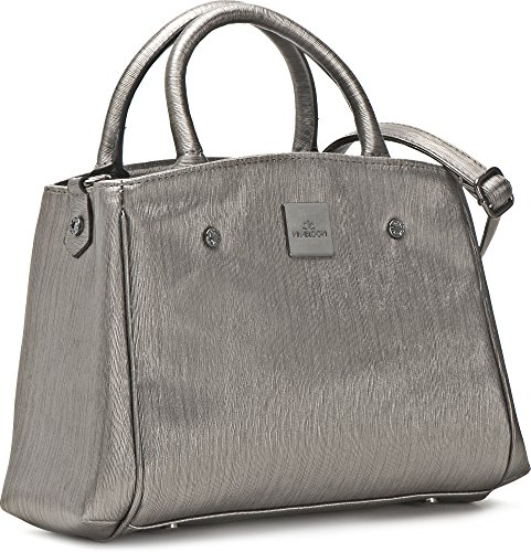 MIYA BLOOM, Damen Handtaschen, Henkeltaschen, Umhängetaschen, Crossover-Bags, Grau Metallic, 24 x 20,5 x 10 cm (B x H x T)