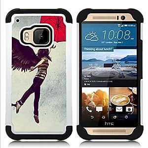 For HTC ONE M9 - Girl Angel Wings Dark Black Umbrella Woman Art /[Hybrid 3 en 1 Impacto resistente a prueba de golpes de protecci????n] de silicona y pl????stico Def/ - Super Marley Shop -