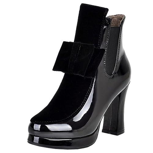 RAZAMAZA Botines de Tacon Ancho para Mujer: Amazon.es: Zapatos y complementos