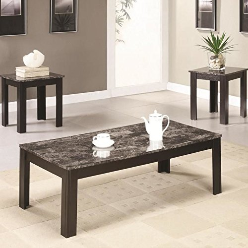 3 piece wood coffee and end table set with faux marble top. Black Bedroom Furniture Sets. Home Design Ideas