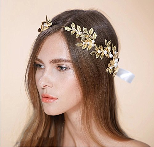 A Cut Above Costumes - Greek / Roman Goddess Gold Leaf Crown Headpiece - Pearl and Crystal Bridal Wedding Tiara Headbands (Rose Gold)