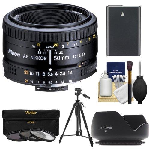 Nikon 50mm f/1.8D AF Nikkor Lens with EN-EL14 Battery + 3 UV/CPL/ND8 Filters + Hood + Tripod + Kit for D3300, D3400, D5300, D5500, D5600 DSLR Cameras