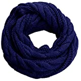NEOSAN Womens Thick Ribbed Knit Winter Infinity Circle Loop Scarf Twist Navy