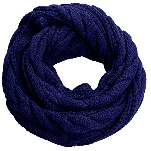 NEOSAN Womens Thick Ribbed Knit Winter Infinity Circle Loop Scarf Twist Navy by NEOSAN