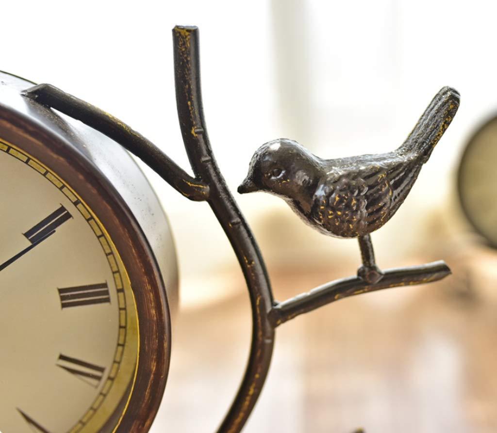 Desk Clock Table Clocks for Living Room Decor Bedroom Vintage Desk Clock Battery Operated Analog Rustic Bird European Non-Ticking Silent Retro Roman Numerals Iron Alarm Clock