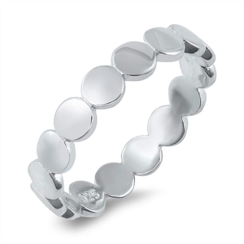 Princess Kylie Rhodium Plated Sterling Silver Circles Band Ring