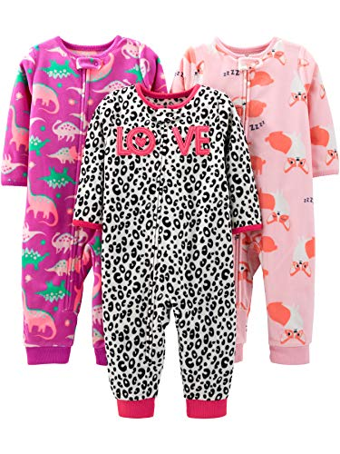 Simple Joys by Carter's Girls' Toddler 3-Pack Loose Fit Flame Resistant Fleece Footless Pajamas, Fox/Dino/Leopard Print, 5T