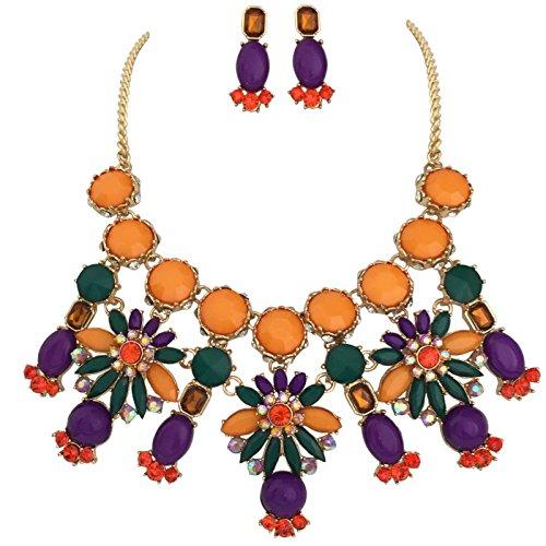 Gypsy Jewels Large Statement Multi Colored Bubble Bib Chunky Gold Tone Necklace Earrings Set (Orange Purple Green)