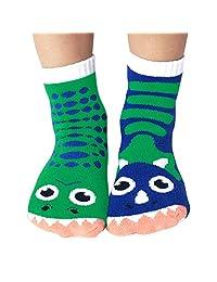 Kids Dinosaur Socks - Mismatched Friends T-Rex and Triceratops Dinos