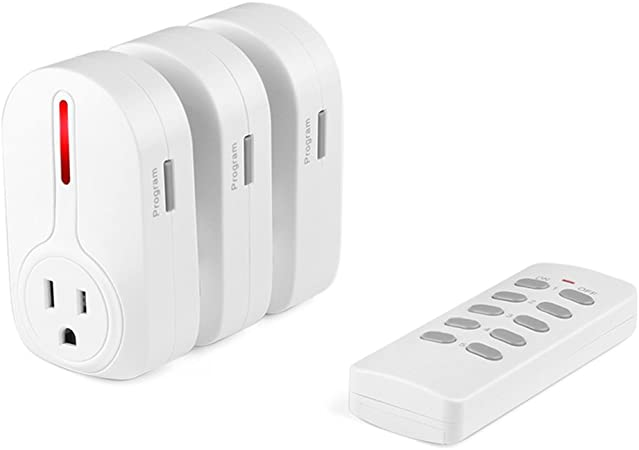Etekcity Programmable Wireless Remote Control Power Outlet On//Off Switch Learning Code White 3Rx-2Tx