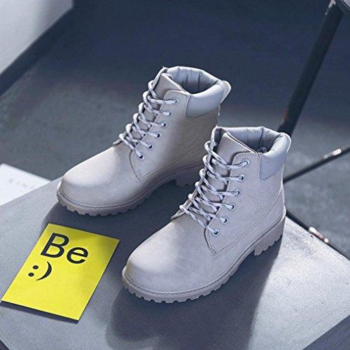 Damen Martin Stiefel, Weihnachtsgeschenk SHOBDW Damen Stiefel Flach Stiefeletten Outdoor Freizeit Biker Boots Grau