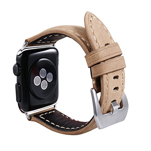 Apple Watch Bands AIRED 38mm Small & Large Apple iwatch Band with Genuine Leather and Metal Clasp for Series 1 Series 3 and Women , Men (Light Brown - 38mm)