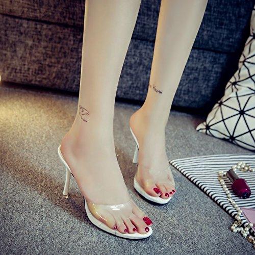 Alto White De Zapatos Afuera 8 2667 Una De Goma Mujer Qi Transparente La Y Zapatos Sandalias Las Estopa Sandalias De Enfriar Del Palabra ZHUDJ Verano Zapatillas Tacón Ogq0Aa