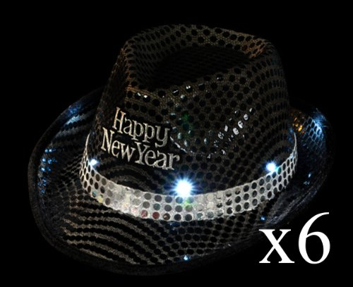 (LOT OF 6) Light Up Flashing Black Sequins FEDORA HAT Happy New Years Eve