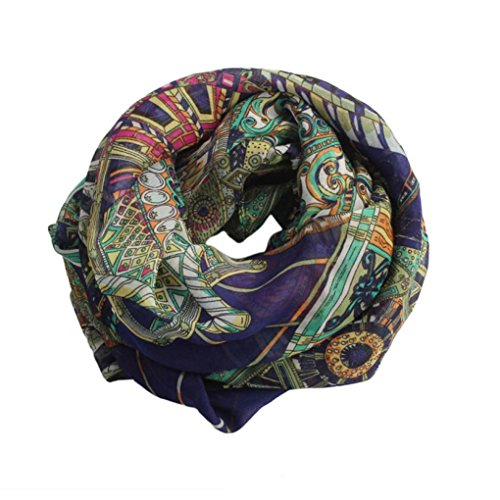 DZT1968® Autumn Winter Women Printed Design Long Chiffon Shawl Scarf Pashmina (Navy)