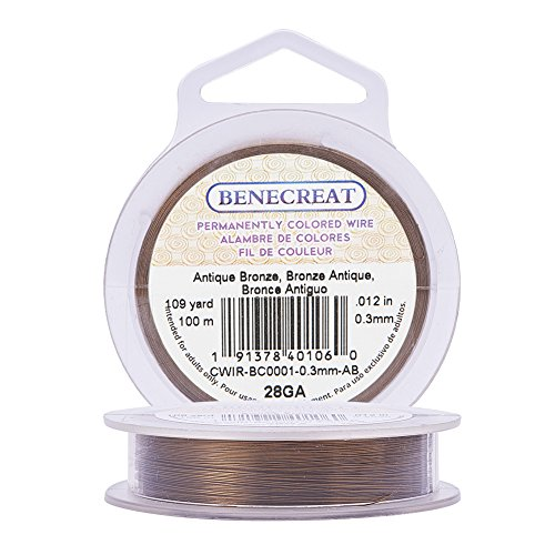 BENECREAT 28-Gauge Tarnish Resistant Antique Bronze Wire, 328-Feet/109-Yard