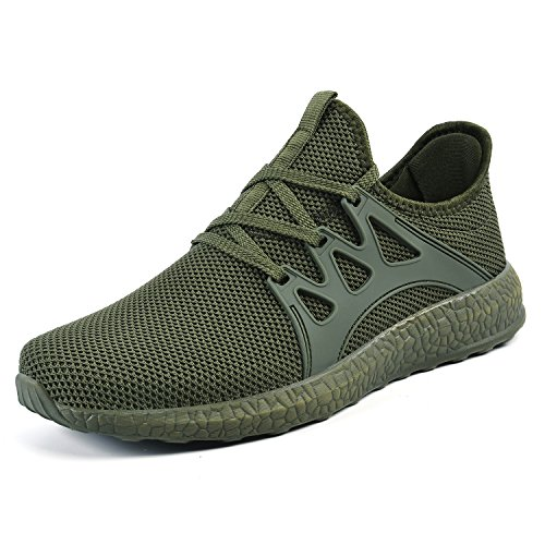 Running Green - Mxson Men's Casual Sneakers Ultra Lightweight Breathable Mesh Sport Walking Running Shoes, Green, 11 D(M) US