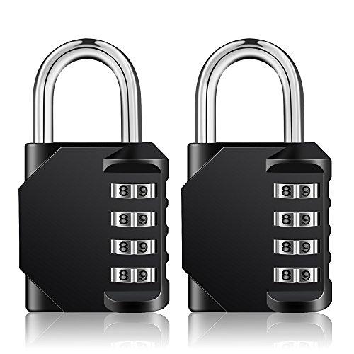 Combination Padlock Outdoor,Locker Lock,4 Digit Lock,2 Pack Combo Lock, Gym Lock, School Lock, Resettable Weatherproof Combination Lock for Gates, Doors, Hasps, Storage (Black) by ZHENGE