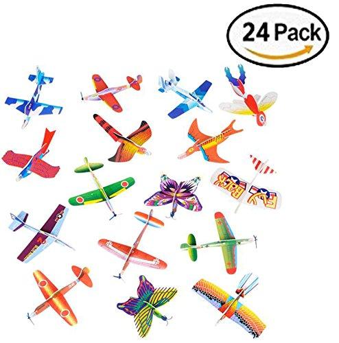 Bilinny Novelty Foam Airplane Glider, Assorted Styles, 24 Pack of Glider Planes (Calypso Glider)