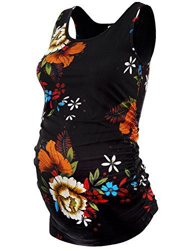 JOYMOM Maternity Tunic,Women's Pregnancy Shirts Gravida U Neck Side Shirring Sleeveless Cute Bodycon Tank Tops to wear with Leggings Black Flower Large