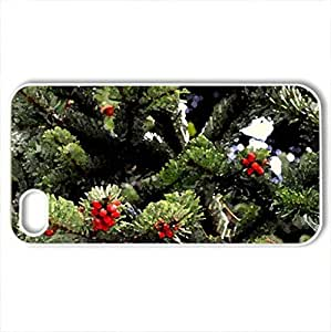 Beautiful fir tree - Case Cover for iPhone 4 and 4s (Watercolor style, White)