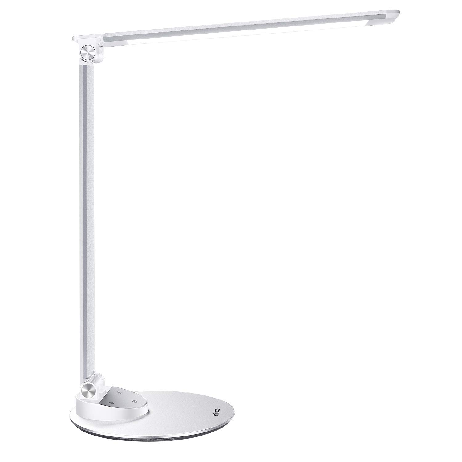 LED Desk Lamp, Miroco Aluminum Alloy Table Lamps with USB Charging Port, Memory Function, 5 Color Temperatures, 5 Brightness Levels, Touch Switch, Eye-Caring and Energy Saving