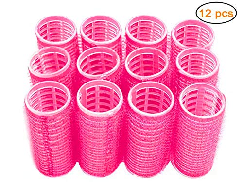 Hair Rollers, Self-Grip Salon Hairdressing Curlers, DIY Classic Curly Hairstyle, Medium (Colors May Vary), 12 Pack