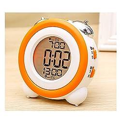 Electronic Alarm Clocks Kids' Room Clocks LED Alarm Clock Bed Light Clock Simple LED Cute Mini Portable Alarm Clock Teaches Child When Ok-to Wake Up Kids Alarm (Orange)