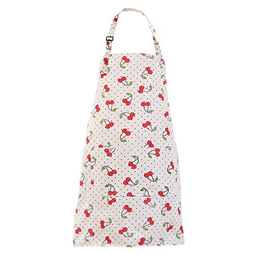 MissOwl Adjustable Bib Apron Extra Long Ties with Pockets Home Kitchen Cooking Baking Gardening Apron for Women Men Cherry