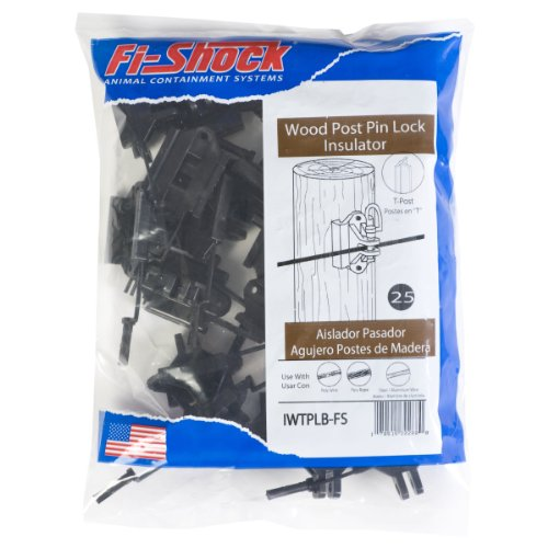 (Fi-Shock IWTPLB-FS Black Pin-Lock Wood and T-Post Insulator)