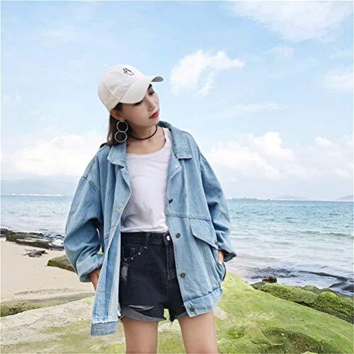 Primaverile Blau Patches Casual Chic Cappotto Cute Fidanzato Maniche Denim Autunno Relaxed Giacca Lunghe Elegante Donna Fashion Outwear Mieuid Jeans Stile 6Xqw4v84H