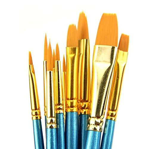 Polytree 10x Round Pointed/Flat Tip Nylon Hair Acrylic Watercolor Artist Paint Brush Set