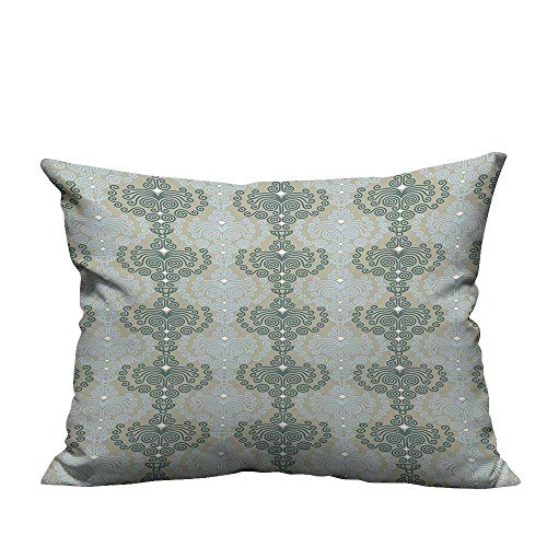 YouXianHome Decorative Throw Pillow Case Damask Ornament Background Wallpaper Print Blue and Taupe Ideal Decoration(Double-Sided Printing) 24x24 ()