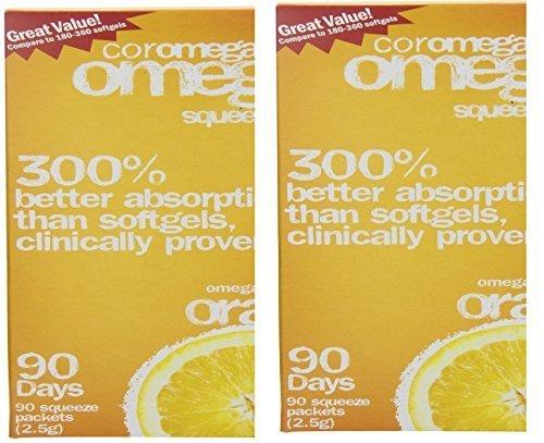 Flavor Coromega Orange - Coromega Omega-3 Supplement, Orange Flavor, Squeeze Packets, 180 Squeeze Packets by Coromega