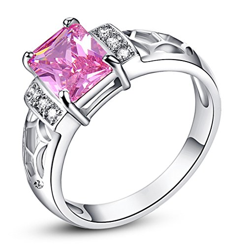 - Narica Womens Brilliant 6mmx6mm Emerald Cut Pink Topaz Cubic Zirconia Engagement Ring
