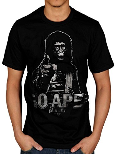 AWDIP Men's Official Planet Of The Apes Go Ape T-Shirt Monkey Film TV Comic (Rise Of The Planet Of The Apes Koba)