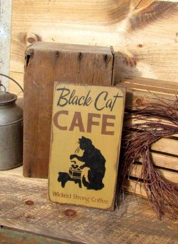 Diuangfoong Wooden Sign Fall Decor Halloween Sign Black Cat Cafe Autumn Decor ()