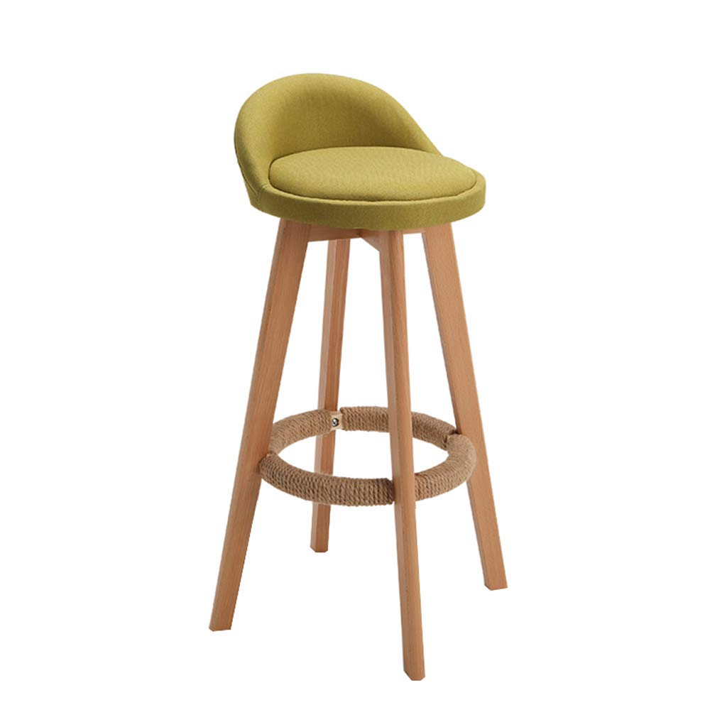 Green 63cm CYLQ redate Bar Stool, Wooden Bar Chair Kitchen Counter Height, Low Back Linen Swivel Seat, Modern Breakfast Table 90-110cm Bench, 4 colors, 3 Sizes (color   Yellow, Size   63cm)