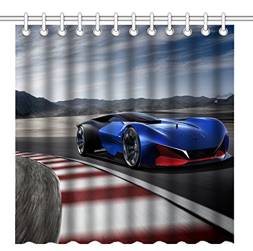 Wknoon 72 x 72 Inch Shower Curtain,Navy Blue Fast Racing Car Furiously Running on the Race Track Illustration,Waterproof Polyester Fabric Decorative Bathroom Bath Curtains